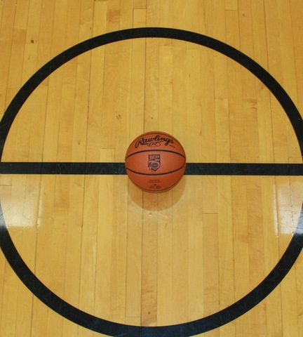 Picture of basketball at center court