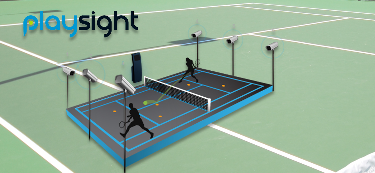 The PlaySight logo over the backdrop of tennis courts.