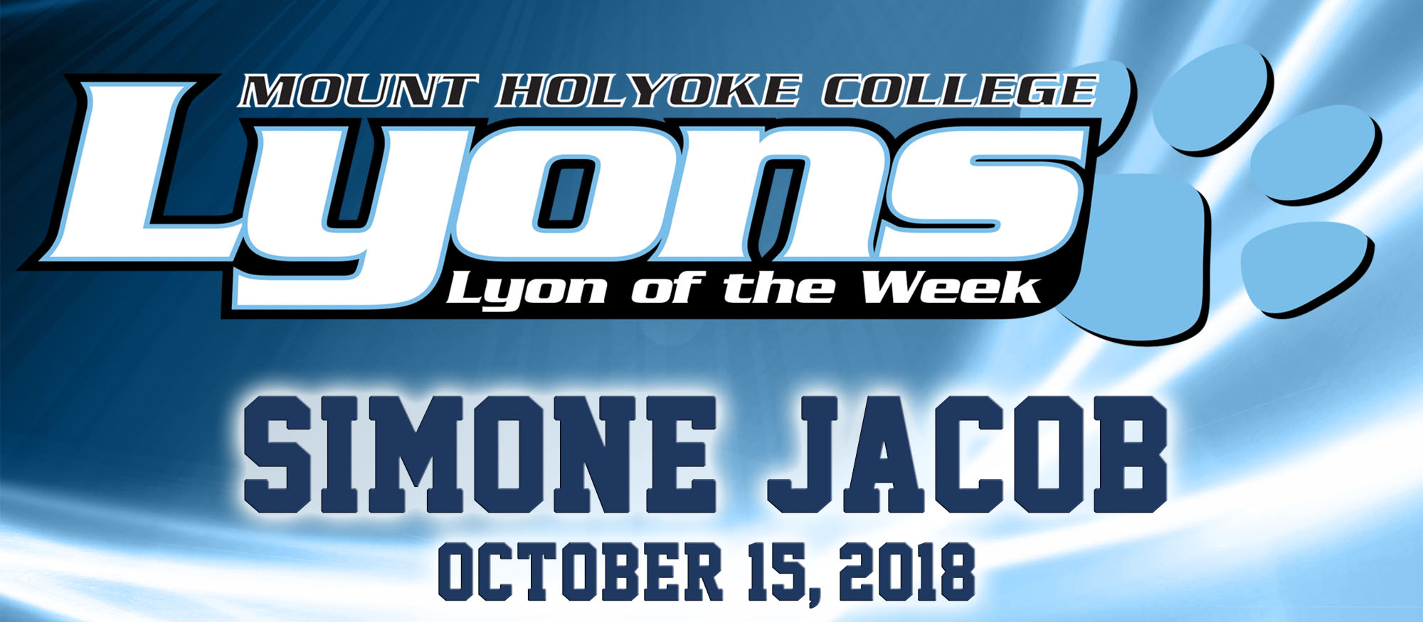 Graphic for the Lyon of the Week for October 15, 2018, Cross Country's Simone Jacob.