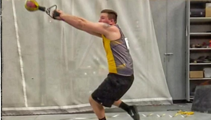 Paul Kemsley in the weight throw.