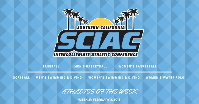 SCIAC Athletes of the Week: February 5, 2018