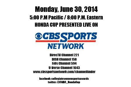 Save the Date - Watch the Honda Cup Presented Live on June 30, on CBS Sports Network