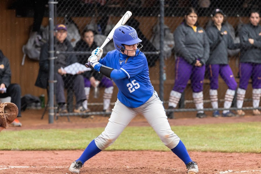 First year Hayley Moniz was 2-for-3 at the plate and pitched 5.1 innings versus Emerson (Frank Poulin).