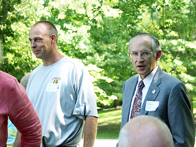 FSU Head Coach Bill Sall (left) and FSU President David Eisler (right) - Photo Courtesy Big Rapids Pioneer