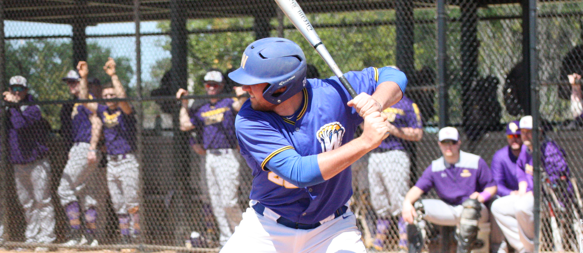 Sophomore Zac Nussbaum recorded one hit in each game as the Golden Bears were swept at Wentworth on Sunday. (Photo by Jeff Rosenblatt)