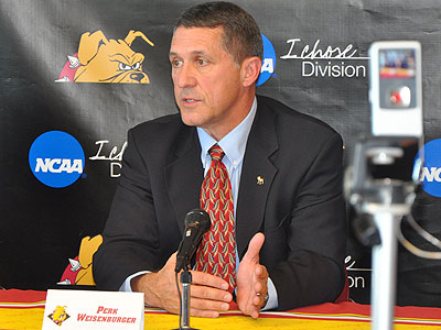 Perk Weisenburger was introduced as Ferris State's Athletics Director (Photo by Rob Bentley)