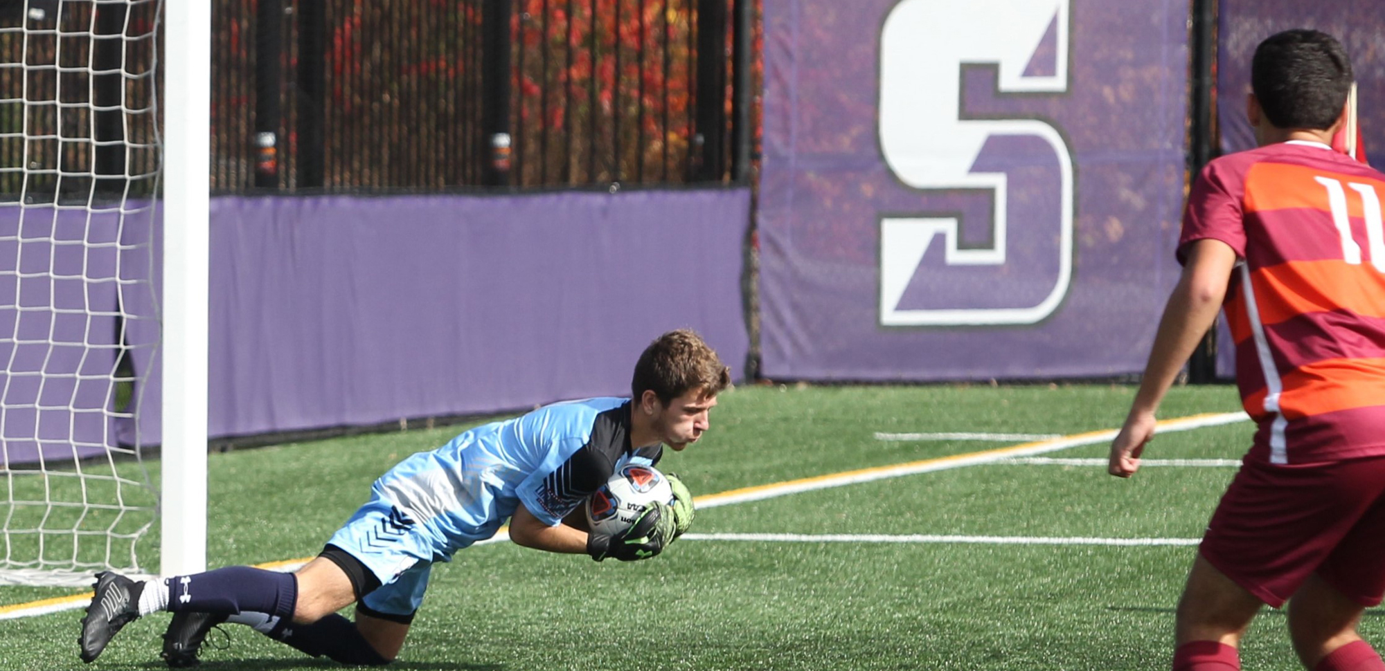 Sophomore goalie Jake Hodlofski was named Landmark Conference Athlete of the Week on Monday after allowing one goal in two games last week and registering 10 saves.