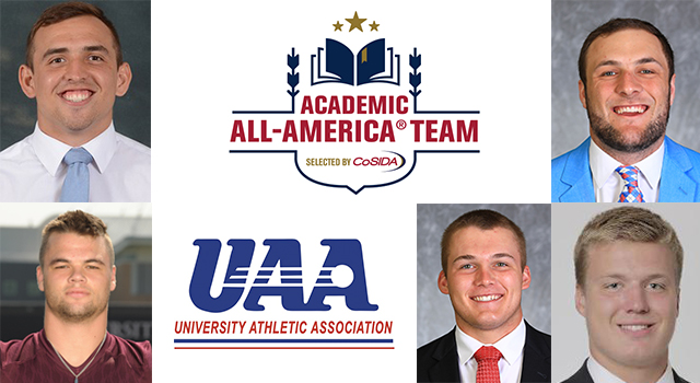 Five UAA Student-Athletes Named to CoSIDA Academic All-America® Football Team