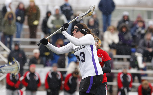 Senior Kerry Sullivan moved into eighth place on the Royals' all-time scoring list today with three goals, but Scranton dropped a 12-8 decision to Misericordia University in Dallas, Pennsylvania