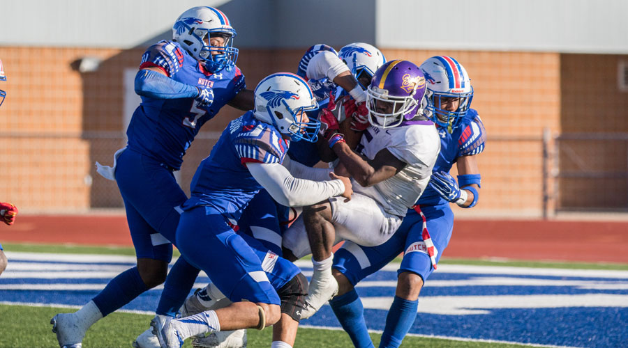 The Blue Dragon defeats wraps up an Eastern Arizona running back on Saturday at the 2017 Salt City Bowl at Gowans Stadium. Hutchinson fell to the Gila Monsters 48-34. (Allie Schweizer/Blue Dragon Sports Information)