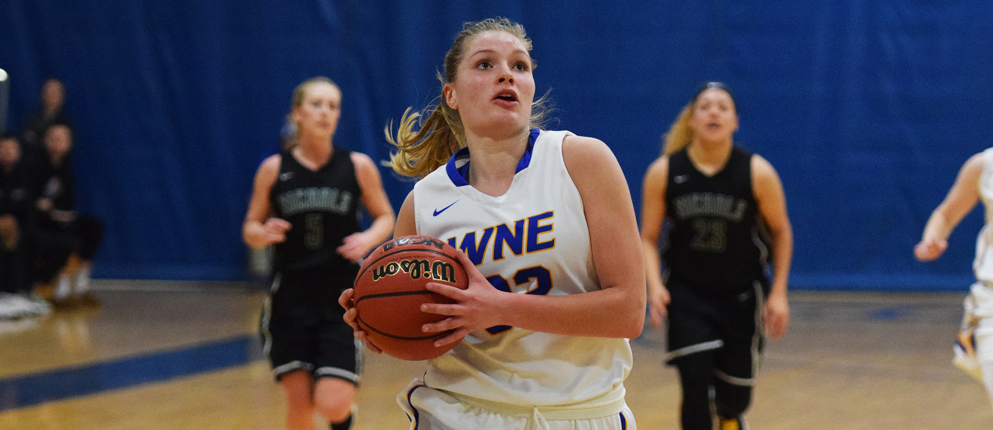 Sophomore Courtney Carlson recorded her first career double-double with 16 points, 11 rebounds, three steals and three blocks in Western New England's 60-52 win over Nichols on Saturday. (Photo by Rachael Margossian)