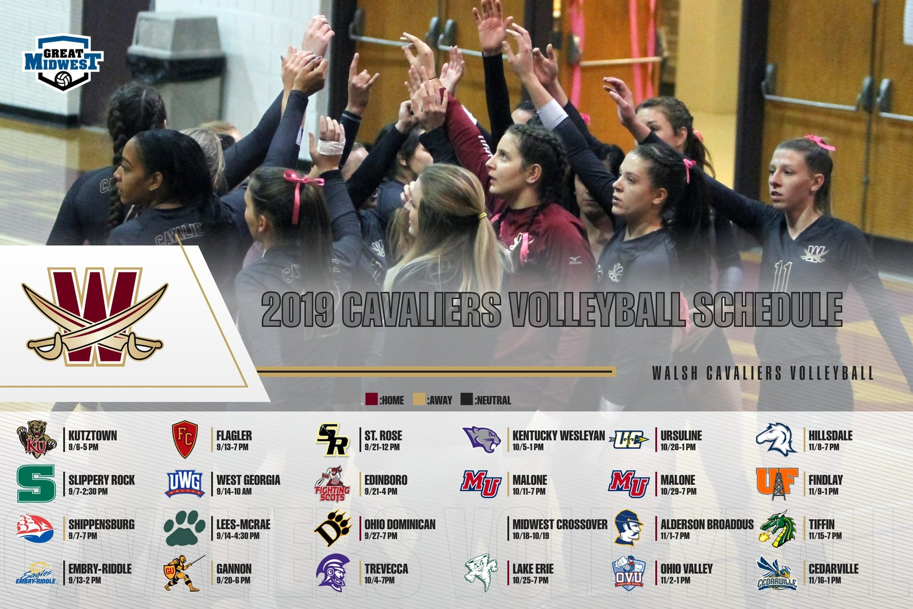 Walsh Volleyball Announces 2019 Season Schedule