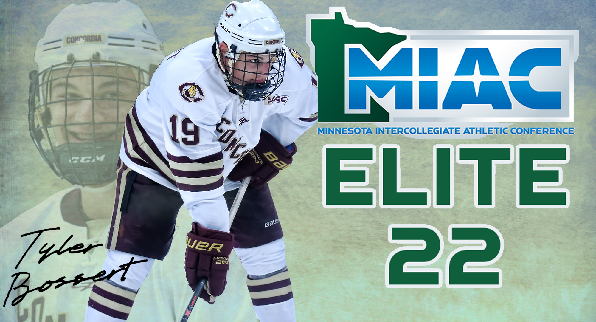 Tyler Bossert, who has a 3.98 GPA while majoring in Business, was named the winner of the MIAC Elite 22 award.