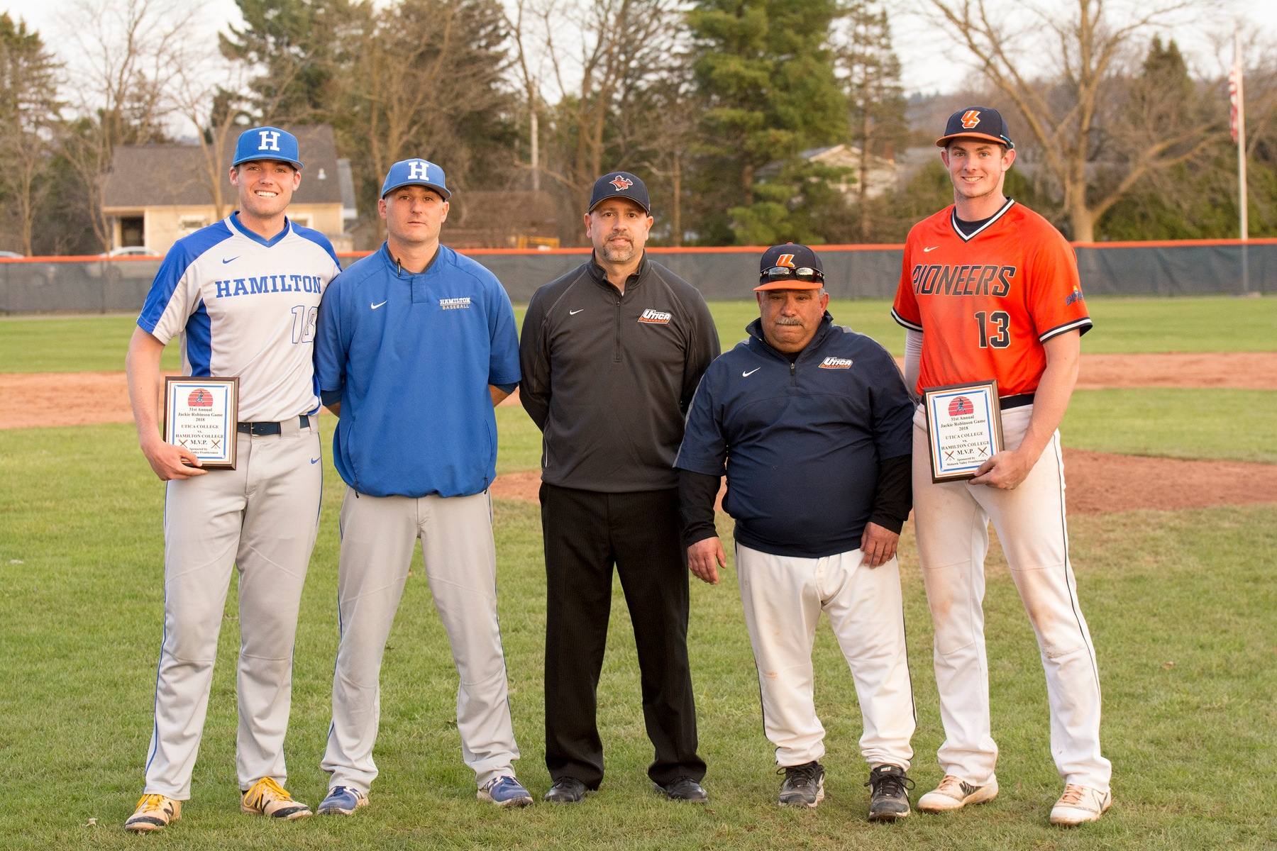 (Left to right) Hamilton MVP Spencer Vogelbach '18, head coach Tim Byrnes, Utica College Director of Athletics Dave Fontaine, Utica head coach Joe Milazzo and Utica MVP Tim Quinlan (photo courtesy Utica College sports information).