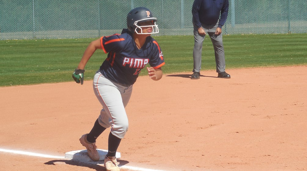 Sophomore Megan Flores (Salpointe Catholic HS) finished 2 for 3 with four RBIs and two runs scored as Pima snatched the second game to earn a split with Central Arizona College. The Aztecs are 27-11 overall and 18-10 in ACCAC play. Photo by Raymond Suarez