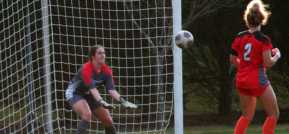 Playing in her first-ever game in goal, Chelsea Sheerin had nine saves against Queens (photo by Chris Lenker)