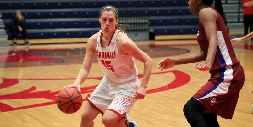 Katelyn Carriere had a game-high 22 points in the Cardinal victory over the Flyers...