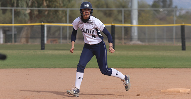 Kat Spilman '19 leads away from second base in a game versus Husson (Maine) University at the Tucson Invitational.