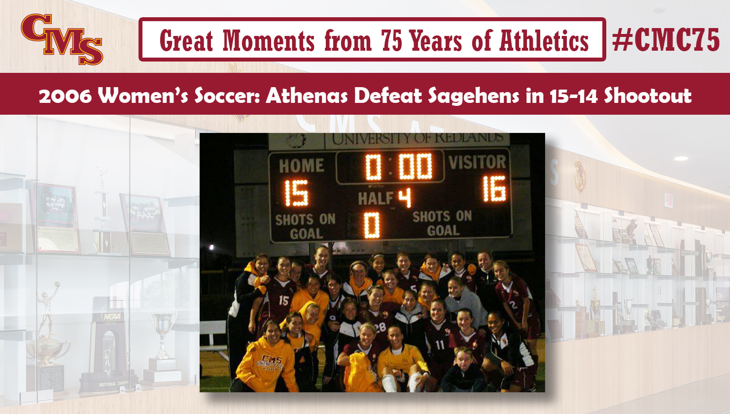 CMS women's soccer celebrating under the scoreboard after the 2006 win. Words over the photo read: Great Moments from 75 Years of Athletics, 2006 Women's Soccer: Athenas Defeat Sagehens in 15-14 Shootout