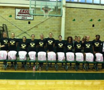 The Felician volleyball team poses with its pink jerseys on Oct. 20, 2011.