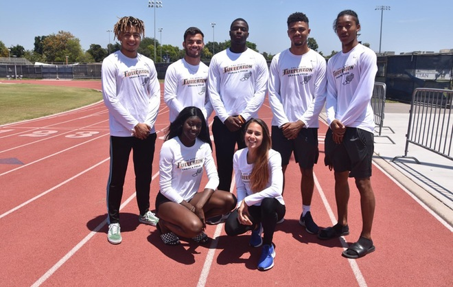 Representing Cal State Fullerton at the NCAA track championships will be, top row, Marcel