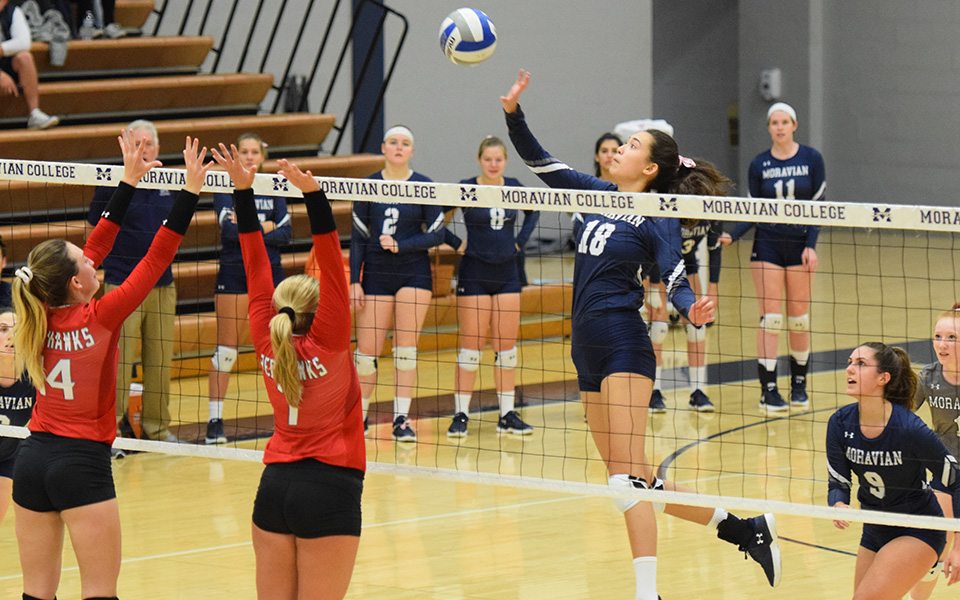 Freshman Renee Mapa attacks a ball over the net versus Montclair State University.