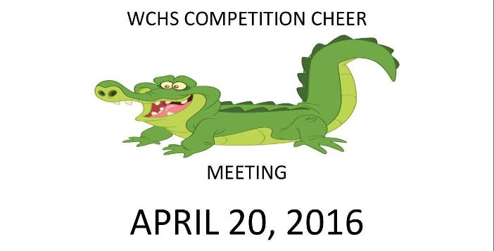 Competition Cheerleading Parent Meeting to be held on Wednesday, April 20, 2016