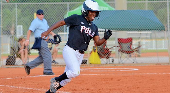 Shelisa Oliver rounds first and heads for second before scoring the only run in Polk State's 1-0 win tonight. (Photo by Tom Hagerty, Polk State.)