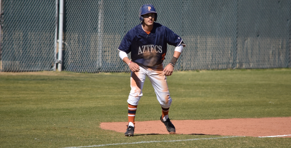 Sophomore Martin Garcia finished the day 5 for 7 with five runs scored in the leadoff spot in the line-up. The Aztecs earned a split with No. 7 Mesa Community College. Pima lost 7-4 and won 8-5 as they are now 19-25 overall and 9-23 in ACCAC conference play. Photo by Ben Carbajal