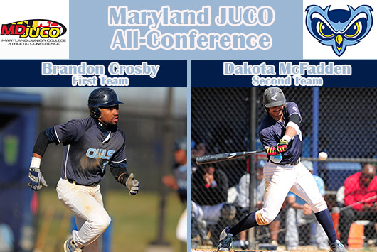 Crosby And McFadden Nab All-Maryland JUCO Baseball Recognition