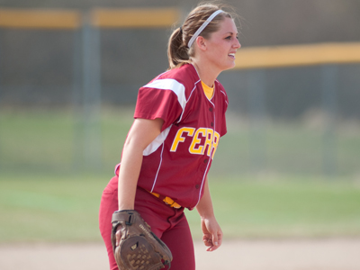 Senior pitcher Kayle Stevenson gives up only one hit as Bulldogs sweep Hillsdale Sunday afternoon.  (Photo by Ed Hyde)