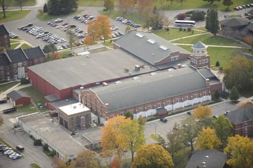 An aerial view of the Athletics and Wellness Center on the Earlham College campus.