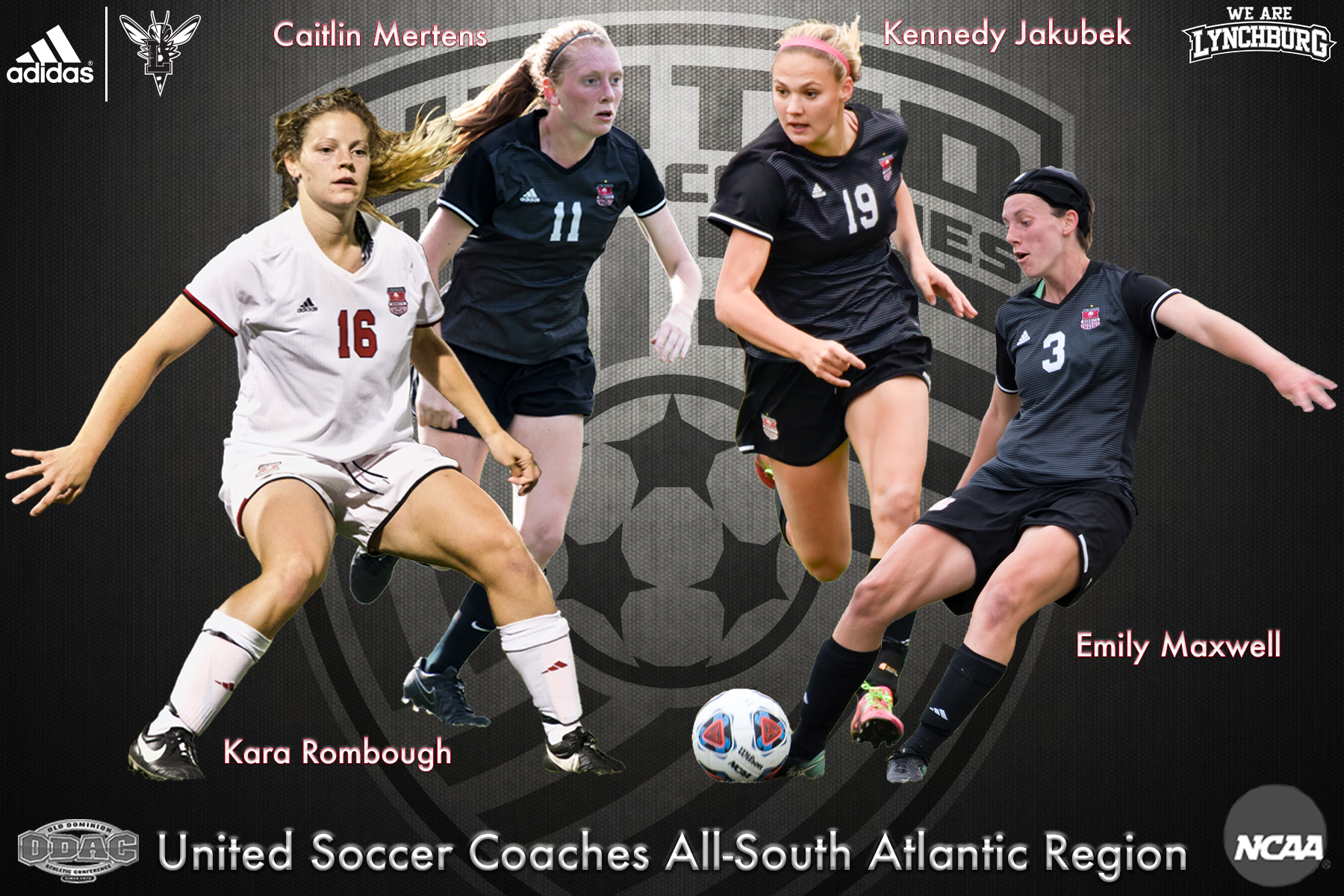 Graphic showing Lynchburg's all-region selections: Kara Rombough, Caitlin Mertens, Kennedy Jakubek, and Emily Maxwell.