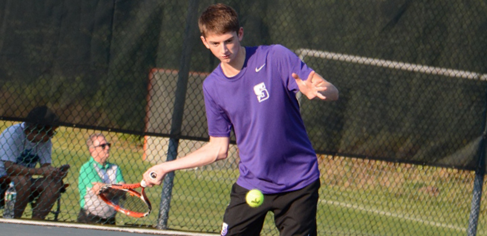 Sophomore Brian Harkins won at both doubles and singles on Wednesday, helping the Royals move to 4-0 in the Landmark Conference with a 6-3 win at Drew on Wednesday.