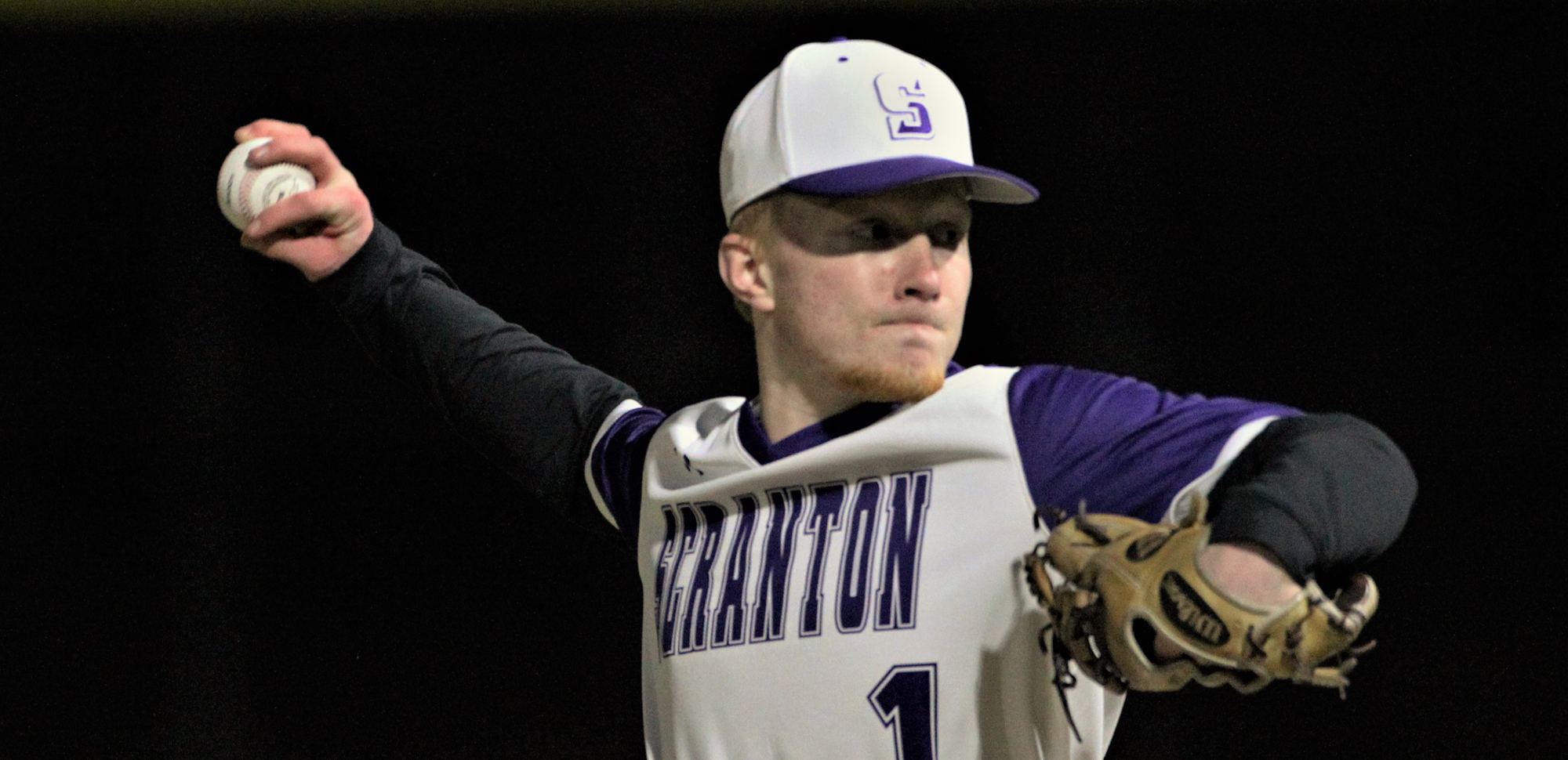 Freshman right-hander Braden Breithaupt fanned four over two scoreless innings of relief on Wednesday vs. Haverford. © Photo by Timothy R. Dougherty / doubleeaglephotography.com