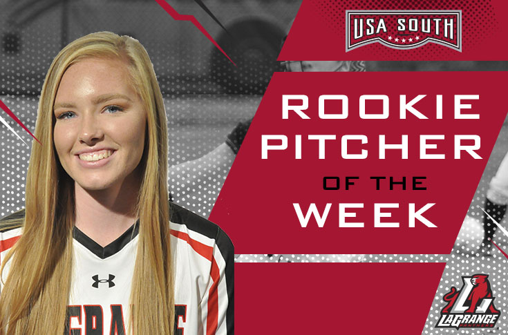 2018-19 in Review: Softball's Ansley Brown selected as USA South Rookie Pitcher of the Week