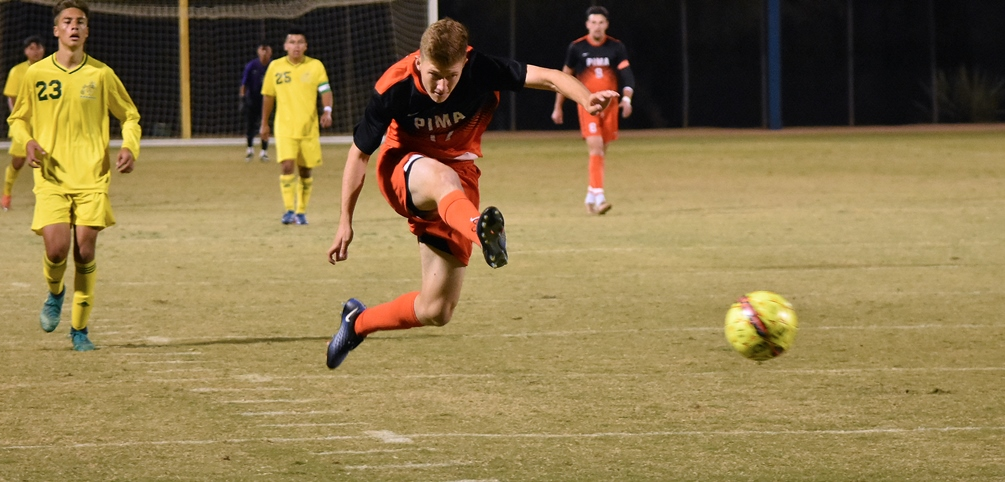 Sophomore Chris Cooper (University HS) was one of three goal scorers for the No. 8 seeded Aztecs as they opened NJCAA Division I Tournament play with a 3-1 win over No. 12 seeded Illinois Central College. Aztecs play No. 1 St. Louis Community College tomorrow at 9:30 a.m. Photo by Ben Carbajal