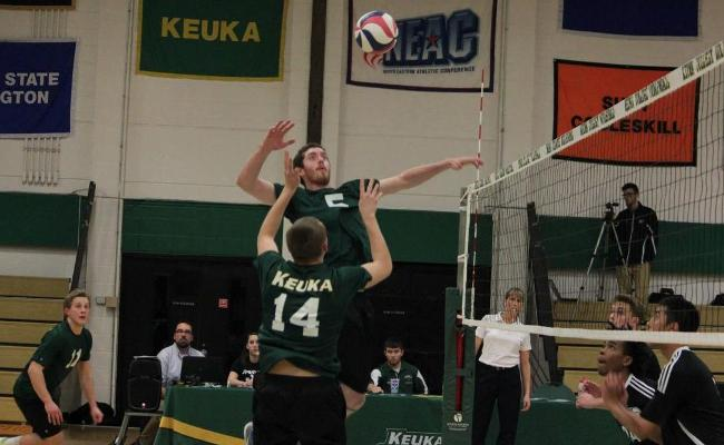 Junior Tom Campbell (no. 5) equaled his career-high with 13 kills as the Keuka College men's volleyball team knocked off Lancaster Bible College and Penn State-Altoona to extend its winning streak to seven (photo courtesy of Megan Chase, Keuka College Sports Information department).