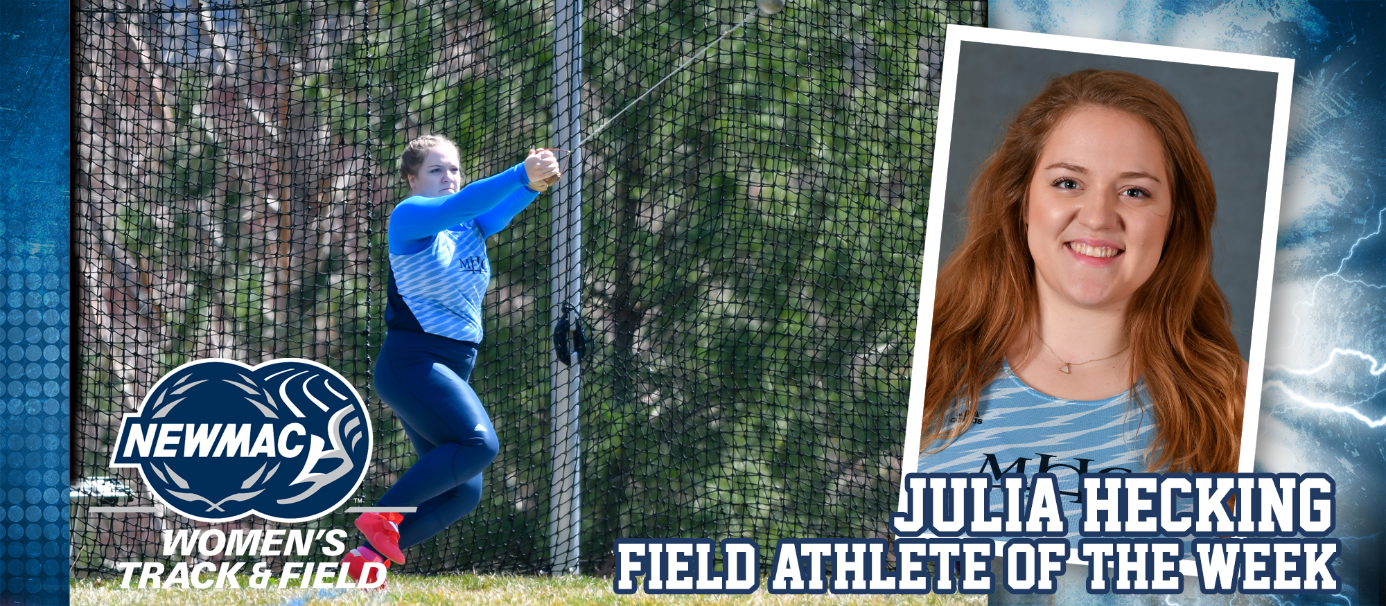Action photo of Lyons track & field athlete, Julia Hecking, who was named the NEWMAC Women's Field Athlete of the Week for March 25, 2019.