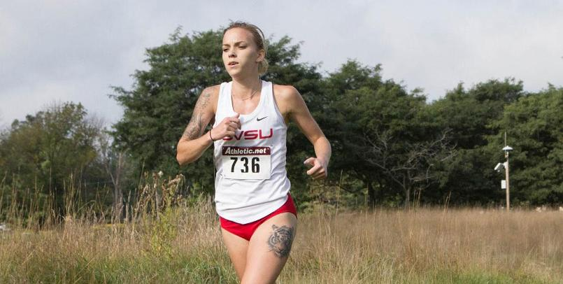 Taylor Stepanski finished 3rd overall for the Lady Cardinals at the GLIAC Championships...(Photo courtesy of David Jensen)