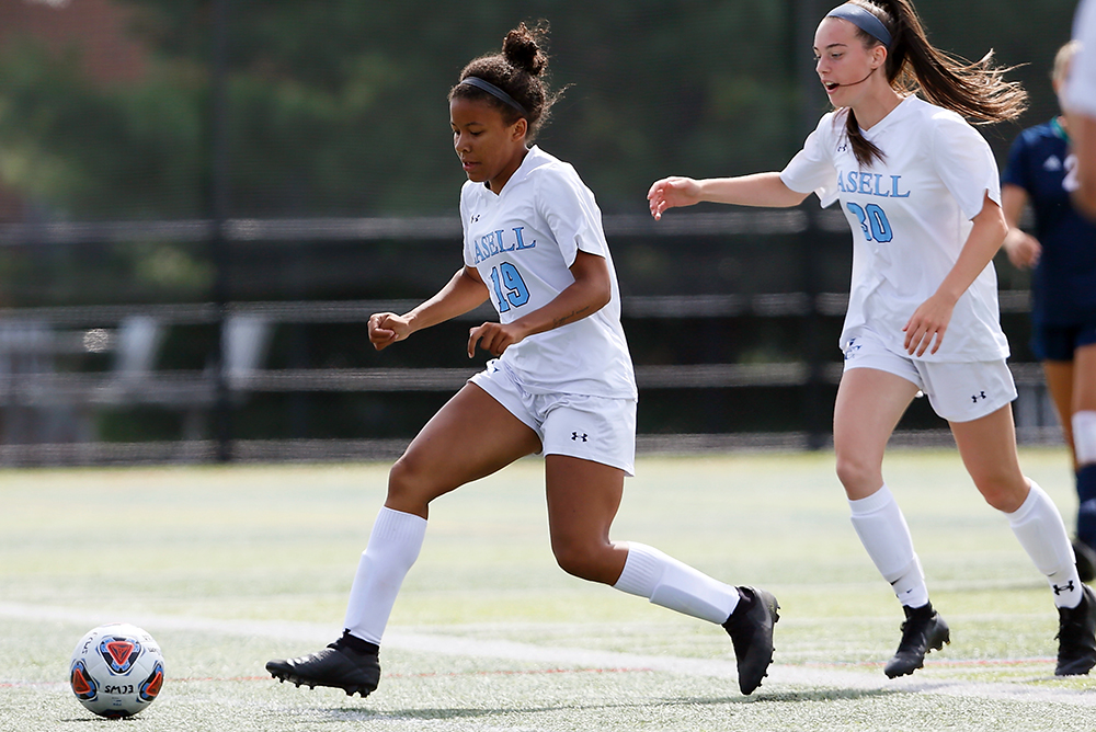 WSOC: Lasell rallies past Regis; Speight tallies goal and assist for Lasers
