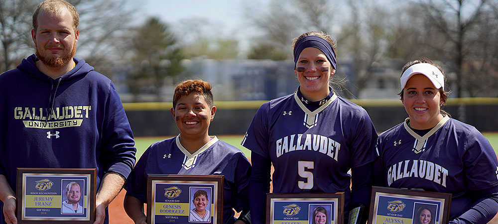 Gallaudet softball senior class. Pictured left to right: Jeremy Franz (team manager), Genesis Rodriguez, Kelsey Hudson, Alyssa Barlow.