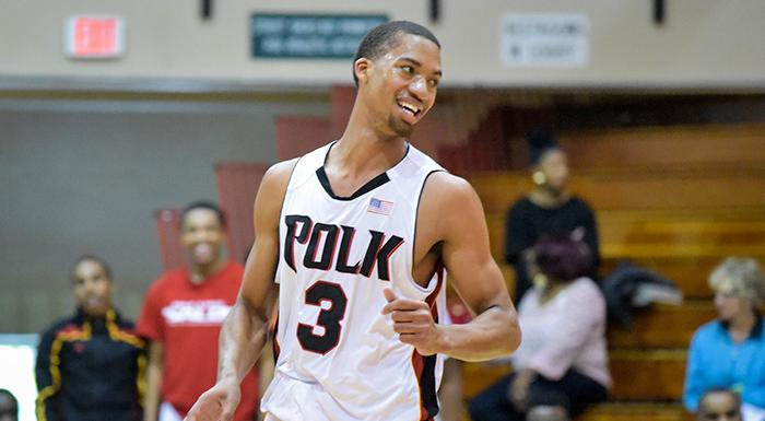Jean Remy Esor smiles after scoring two of his season-high 10 points. (Photo by Tom Hagerty, Polk State.)