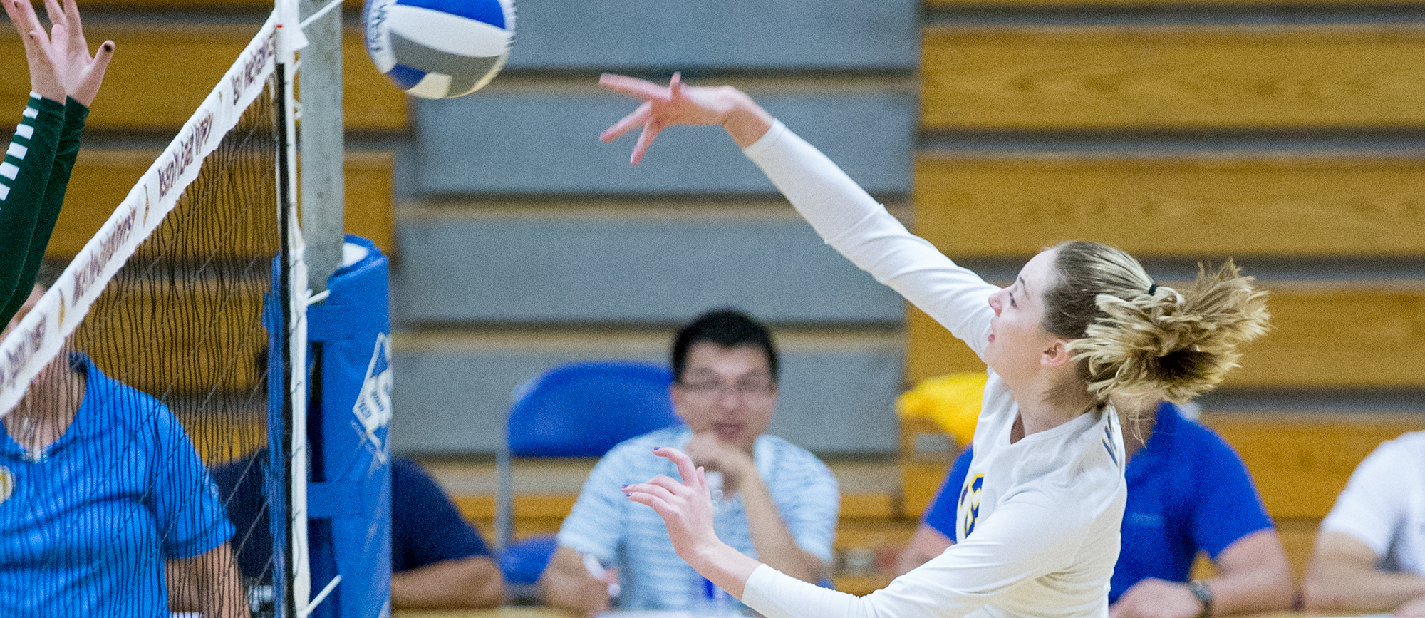 Freshman Abigail Bundy recorded a team-high seven kills in Wednesday's 3-0 loss at Endicott. (Photo by Chris Marion)