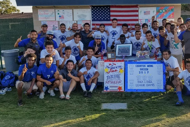 The Cerritos men's soccer team celebrates their second straight divisional title