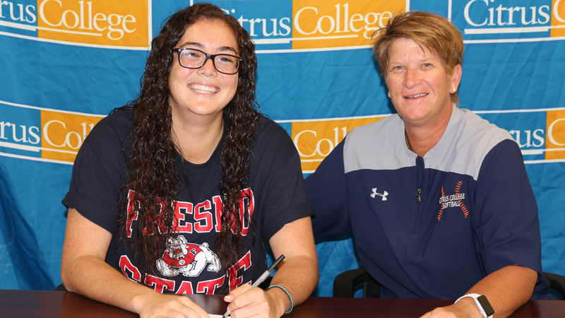 Sophomore Jade Nua (left), pictured with Citrus College Head Softball Coach Jackie Boxley (right), has signed a scholarship offer with Fresno State University.