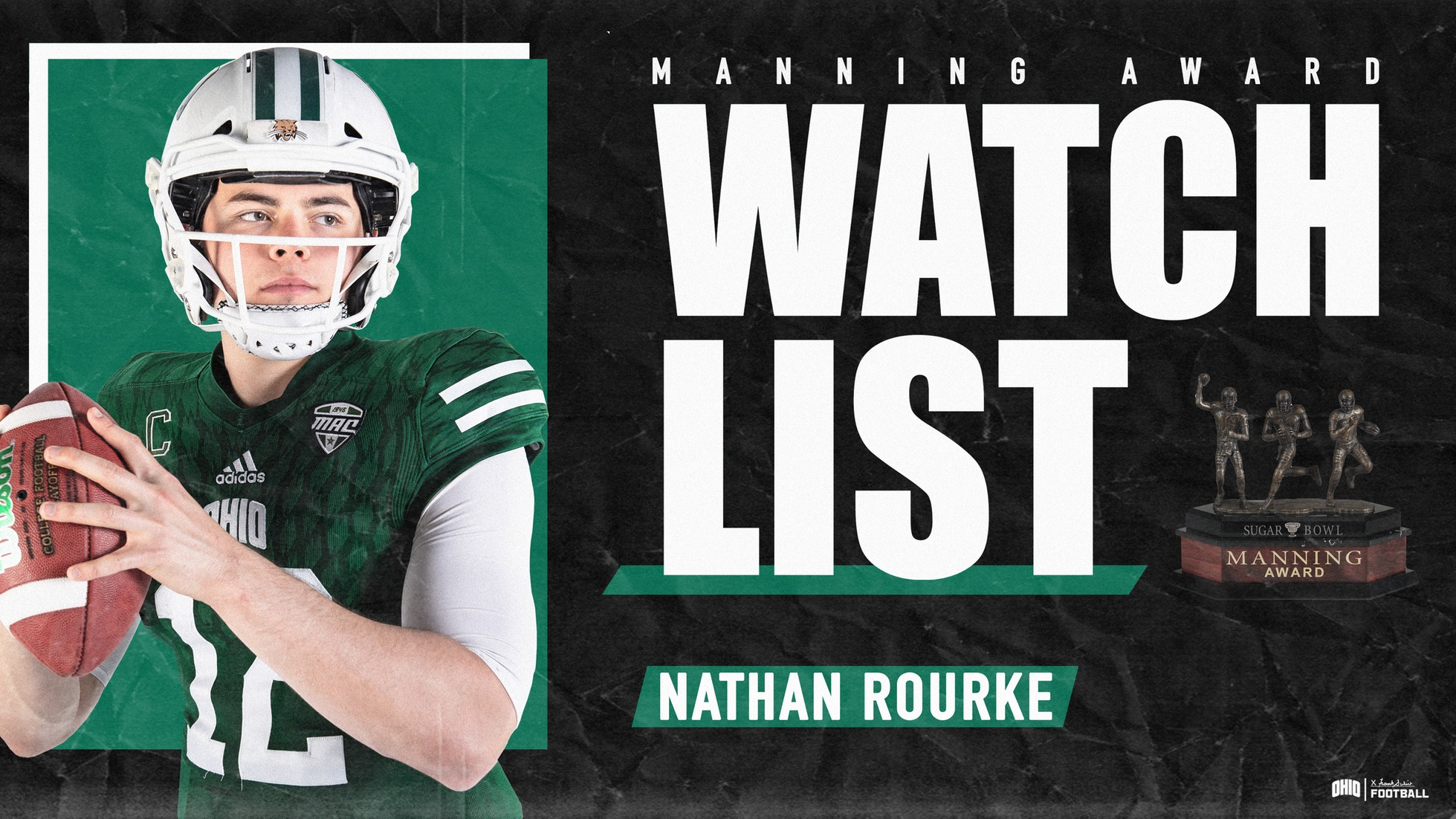 Ohio Football's Rourke Named To 2019 Manning Award Watch List