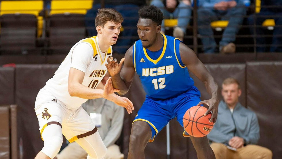 Freshman Amadou Sow had eight points and a game-high 11 rebounds to help UCSB open the season with a 76-66 win at Wyoming on Tuesday night. (Photo by Kyle Spradley)