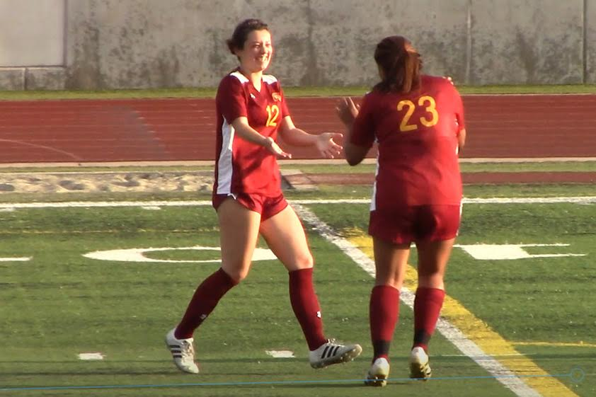Lancer Chloe Twitchell celebrates scoring a goal on assist from Angelica De La Cruz on Tuesday, video by Richard Quinton.