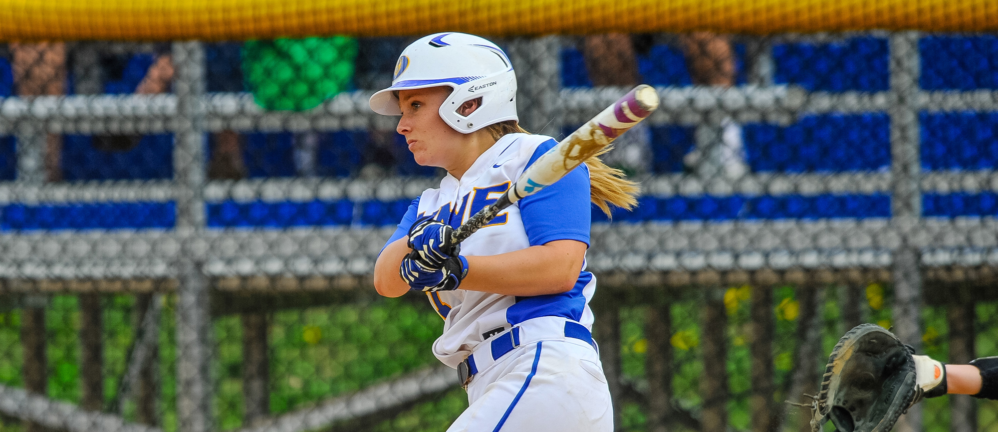 Senior Gabby Lavinio drove in Western New England's lone run with an RBI double as the Golden Bears were eliminated from the CCC Tournament with a 7-1 loss to Roger Williams on Sunday. (Photo by Bill Sharon/Spartan SportShots)